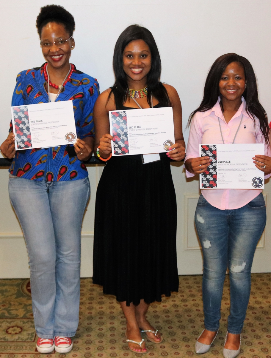 2nd Place (tie) for Best Scientific Proposal Presentation: Tuelo Mogashoa, SANTHE Mphil Fellow, Botswana Harvard AIDS Institute (BHP), Botswana; Zandile Sibisi, SANTHE PhD Fellow, Africa Health Research Institute (AHRI), South Africa; Prisca Thami, SANTHE PhD Fellow, BHP, Botswana.